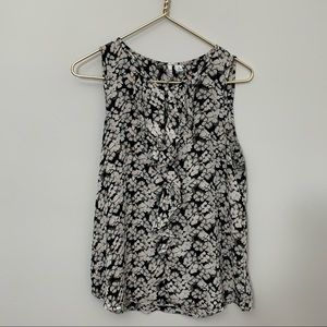 ELLE black and pink floral ruffle sleeveless blous